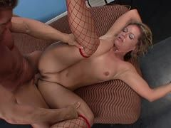 Kelly Leigh gets dirty in her red fishnet stockings