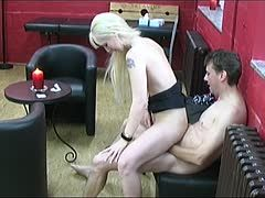 German blonde has lustful sex on a leather bench
