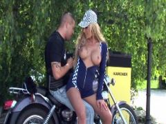 Biker fucks the blonde bombshell