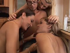 Michelle Lay shares the cock with her girlfriends