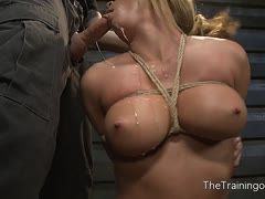 Tied Mia Lelani gives her master a blowjob