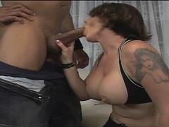 Milf with gorgeous boobs dominates her black lover