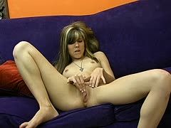 Blonde girl rubs her clit