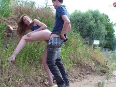 Mary Haze from Germany is fucked roadside