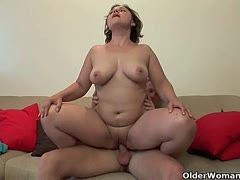 Young men fuck big-busted grannies