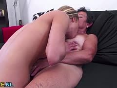 Young babe has sex with old granny