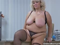 Voluptuous secretaries at best age take their clothes off