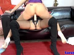Hot strap-on ride among mature lesbians