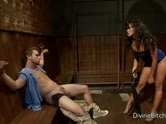 Cuckold slave must watch his dominant wife cheating on him