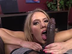 Big black prick lets a blonde become wet