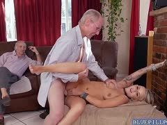 Slave is fucked by an old guy and another one is watching them