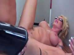 Tattooed blonde is fucked on the office desk