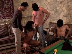 Young sucking slut is fucked during group sex