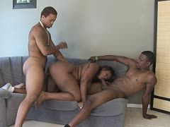 Fat black is horny for a black threesome