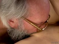 Bearded old guy fucks young schoolgirl