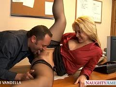 Blonde office slut gets laid